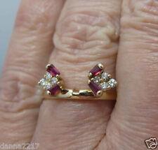 14K Solid Gold Baguette Ruby & Genuine Diamond Ring Wrap Enhancer Jacket