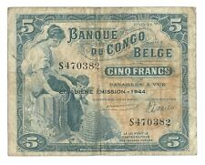 5 francs 1944 Belgian Congo Pick 13Ac 10.03.44 Belge Belgisch p f