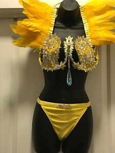 Carnival, Samba, Belly Dancer Costume, Yellow, Size L, Wire Bra/Feather Collar