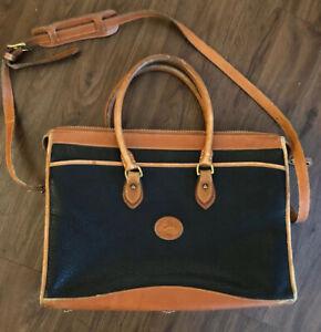 Vintage Rare Dooney & Bourke Black  AWL Satchel Medium Briefcase Shoulder Bag