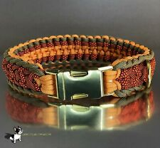 Neon,Pastel Orange, Sage Green Crown Trail Custom Paracord Dog Collar fixed size