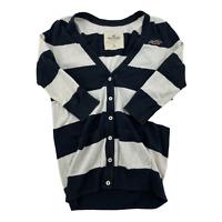 Hollister Womens Medium White Blue Button Up Cardigan Sweater Long Sleeve