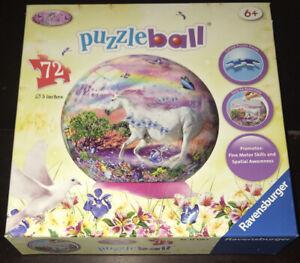Ravensburger Globe 72 Piece PuzzleBall Unicorns Learn Unicorn Horse Puzzle Art