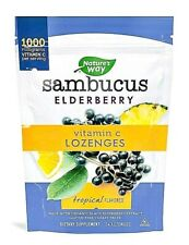 4 Pk Nature's Way Sambucus Elderberry Vitamin C Lozenges Tropical