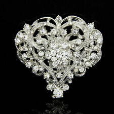 Huge Size Wedding Party Brooch Pin Luxury Heart Shape Lady Girl Crystal Brooch