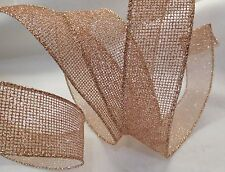 """5 Yards Rose Gold Glitter Metallic Mesh Ribbon with Wired Edges - 1 1/2"""" wide"""