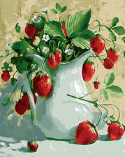 "New DIY Paint By Number 16*20"" kit Oil Painting On Canvas Strawberry Plants 993"