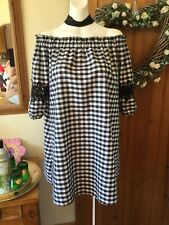 River Island Size 12 Black White Bardot Cotton Dress Lace Arm Detail Summer,