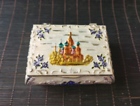 Exquisite Chinese Handmade Silver color castle tin ring earrings Jewelry box