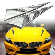 Pair ABS Auto Car Hood Side Air Intake Flow Vent Cover Decorative Sticker Chrome