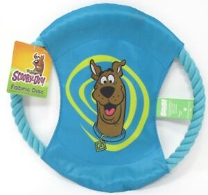 "Dog Toy Fabric Disc With 11"" Rope Ring Scooby Doo Theme Dog Training Blue"