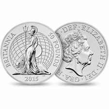 2015 Great Britain UK Britannia £50 For £50 .999 Fine Silver Coin 1st In Series