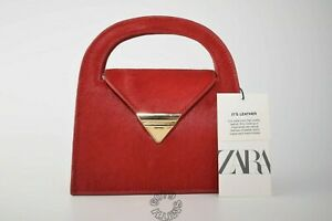 BNWT Zara Red Leather/Pony Hair Mini City Bag