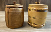 Lot Of 2 Small Wooden Tobacco Jars Handmade