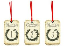 12, 24 days of Christmas small tags with red silk ribbon Vintage inspired