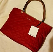 Kalvin klein Signature Tote Handbag Quilted Nylon Red  MSRP $ 138 Make an Offer