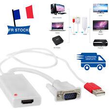 VGA Male vers HDMI 1080P HD Convertisseur + TV AV HDTV Audio Vidéo Câble USB