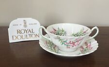 Royal Doulton BELL HEATHER SCALLOPED Footed Cream Soup Bowl & Saucer Set