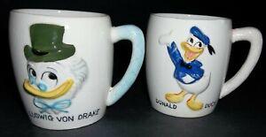 Vintage Walt Disney Donald Duck & Ludwig Von Drake Mug Cups Dan Brechner Japan