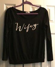 Black Long Sleeve Wifey Shirt Womens Medium