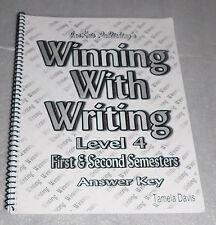 Winning with Writing Level 4 Answer Key Tamela Davis Spiral Bound Homeschool