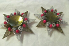 2 Austria Christmas Star Candleholders~Vintage Mica Covered Pinecone Red Berry