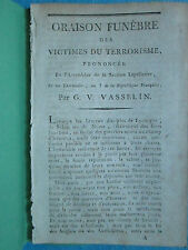 VASSELIN : ORAISON FUNEBRE DES VICTIMES DU TERRORISME, 1795.