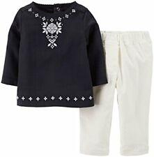 Carter's girl's newborn 2 piece set black tunic top white corduroy pants