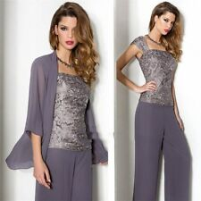 3 PCS Gray Mother of the Bride/Groom Pant Suit Chiffon Evening Gowns Size 12/14W