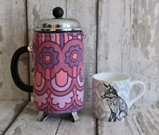 Vintage Fabric CAFETIERE/COFFEE COSY~French Press/Bodum/Pink/Hippy/60s/Retro