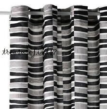 "NEW IKEA pair of Curtains Linen Poly Lappljung Rand 2 Panels 57x98"" Black White"