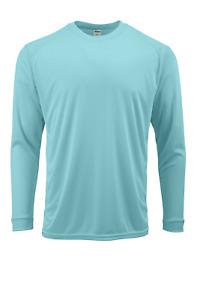 Men's Long Sleeve Microfiber Sun Shirt UPF / SPF 50+ Protection Aqua