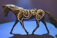 BREYER HORSE MODEL - CUSTOM FINISH BLACK WITH SILVER AND AQUA RHINESTONES - GORG