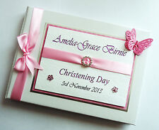 PERSONALISED GIRLS CHRISTENING / NAMING DAY GUEST BOOK (PINK) - ANY COLOUR