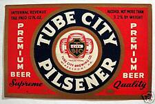 Tube City Pilsner IRTP Beer Bottle Label McKeesport Pa