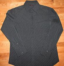 7 Diamonds Mens L Black White Stripe Hidden Button Front Long Sleeve Shirt