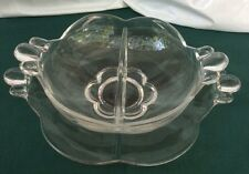 Duncan Miller Glass Canterbury 2 Part Divided RELISH DISH  with Underplate
