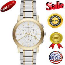 100% NEW Swiss made Burberry The City Two-Tone Chronograph Unisex Watch BU9751