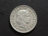 1938 B Switzerland 20 Rappen Coin of the Swiss Franc Currency XF grade