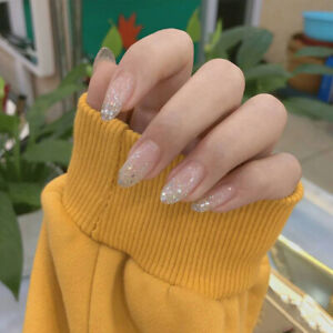 Gradient Holo Silver Glitter Sequins Fake Nails Full Long Ellipse Press On Nails