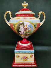 Antique Royal Vienna Double Handled Urn Vase Beehive Mark Mythological Scene