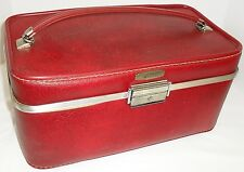 Vtg Red Towncraft  Make-Up Cosmetic Case Carry-On Train Luggage Suitcase