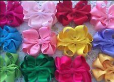 "50 BLESSING Good Girl 5.5"" Double ABC Hair Bow Clip Grosgrain Ribbon Wholesale"