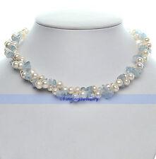 2 Strands Aquamarine/Ametrine/Peridot/Turquois & White Freshwater Pearl N | FSUK