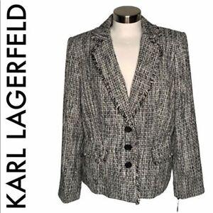 KARL LAGERFELD NWT BLACK WHITE TWEED BLAZER 14