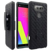 For LG V20 - Hard Shell Combo Case Kick-stand Swivel Clip Holster Cover Black