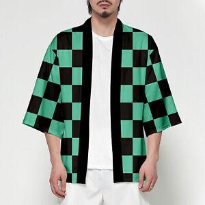 UK Seller Demon Slayer: Tanjiro Kamado Yaiba Kimono Top Fancy Cosplay Costume