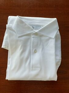 The Armoury by Ascot Chang Long Sleeve Spread Collar White Polo size L