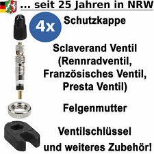 Französisches Ventil Sclaverand SV Ventileinsatz Ventilkappe Ventilschlüssel SET