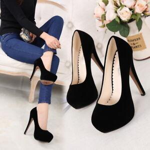 Womens Pumps Platform Stilettos High Heel Round Toe Suede Leather Shoes Plus SZ